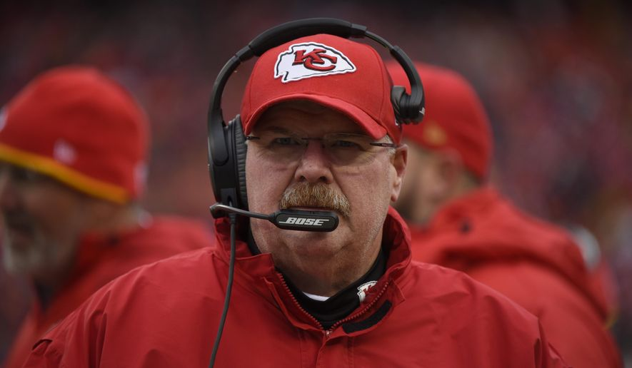 FILE - In this Dec. 27, 2015, file photo, Kansas City Chiefs head coach Andy Reid follows from the sideline during the first half of an NFL football game against the Cleveland Browns in Kansas City, Mo. Reid encourages his players to express their personality, and that is something of a rarity in the buttoned-down, corporate world that the NFL has become in recent years. (AP Photo/Ed Zurga, File)