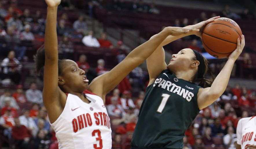 Michigan State's Tori Jankoska, right, shoots as Ohio State's Kelsey Mitchell defends during the first half of an NCAA college basketball game Thursday, Dec. 31, 2015, in Columbus, Ohio. (AP Photo/Jay LaPrete)