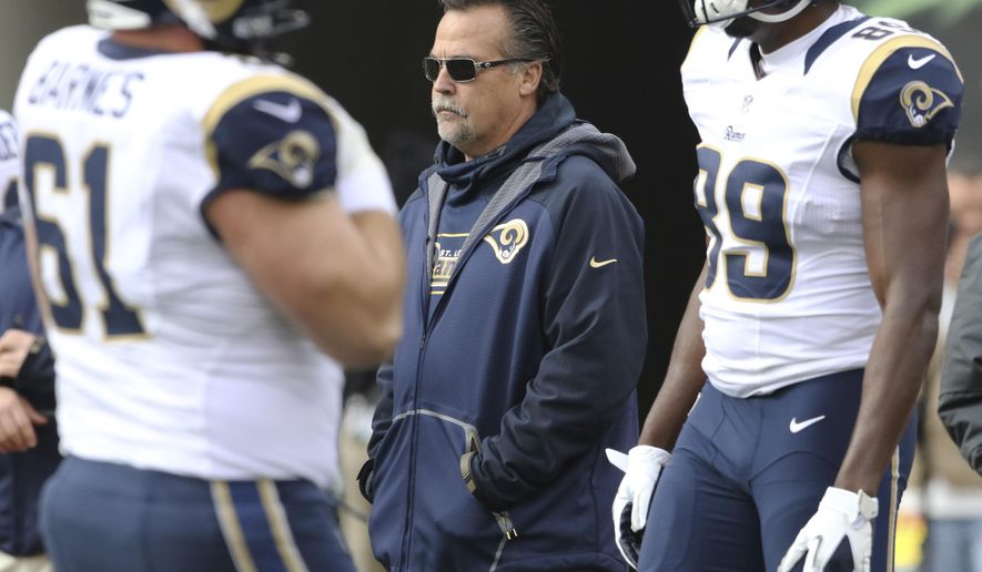 FILE - In this Nov. 29, 2015, file photo, St. Louis Rams coach Jeff Fisher stands on the field before the team's NFL football game against the Cincinnati Bengals in Cincinnati. The Rams play the San Francisco 49ers on Sunday, Jan. 3. (AP Photo/Gary Landers, File)