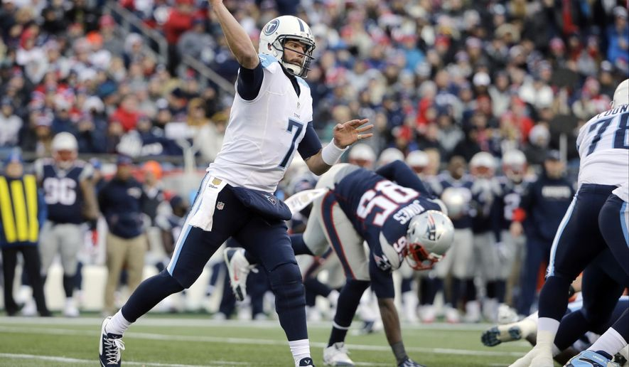 FILE- In this Dec. 20, 2015, file photo, Tennessee Titans quarterback Zach Mettenberger (7) passes against the New England Patriots during an NFL football game in Foxborough, Mass. The Titans play the Indianapolis Colts on Sunday, Jan. 3. (AP Photo/Steven Senne, File)