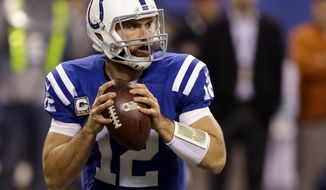 FILE - In this Nov. 8, 2015, file photo, Indianapolis Colts' Andrew Luck (12) looks to throw during the second half of an NFL football game against the Denver Broncos in Indianapolis. Owners will tread lightly with running backs after the rash of injuries in 2015 and predictably overlook players who had down years like Andrew Luck. (AP Photo/Michael Conroy, File)