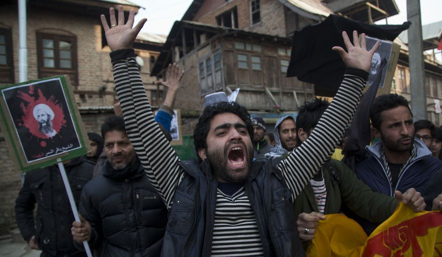 A Kashmiri Shiite Muslim man shouts slogans against the execution of Sheikh Nimr al-Nimr, during a protest in Srinagar, Indian controlled Kashmir, Saturday, Jan. 2, 2016. Hundreds of Shiite Muslims in Indian portion of Kashmiri rallied in the Shia dominated areas protesting against Saudi Arabia, after they announced on Saturday it had executed 47 prisoners convicted of terrorism charges, including al Qaeda detainees and a prominent Shiite cleric who rallied protests against the government. (AP Photo/Dar Yasin)