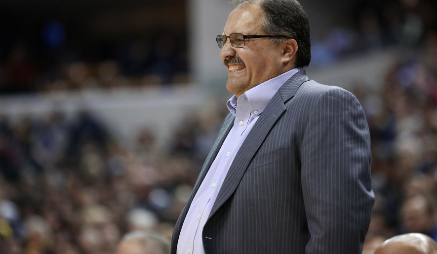 Detroit Pistons coach Stan Van Gundy reacts to an official's call during the first half of the Pistons' NBA basketball game against the Indiana Pacers, Saturday, Jan. 2, 2016, in Indianapolis. Van Gundy was ejected for arguing late in the second half. Indiana won 94-82. (AP Photo/R Brent Smith)