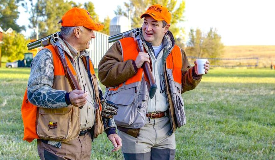 Sen. Ted Cruz and Rep. Steve King take a moment during a recent pheasant hunt in Iowa. (Associated Press)