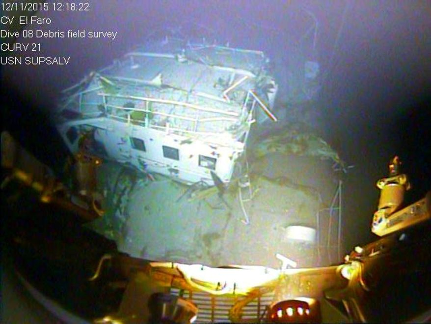 In this photograph released by the National Transportation Safety Board on Sunday, Jan. 3, 2016, the detached navigation bridge of the sunken freighter El Faro is seen on the sea floor, 15,000-feet deep near the Bahamas. The freighter sunk on Oct. 1, 2015, after losing engine power and getting caught in a Category 4 hurricane. All 33 crew members aboard were lost at sea. Federal investigators are considering launching another search of the wreckage of a freighter. (National Transportation Safety Board via AP) ** FILE **