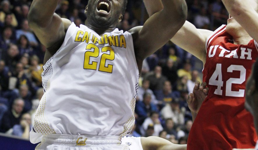 California Golden Bears' Kingsley Okoroh, left, rebounds in front of  Utah Utes' Jacob Poeltl, right, during the first half of an NCAA basketball game, Sunday, Jan. 3, 2016, in Berkeley, Calif. (AP Photo/George Nikitin)