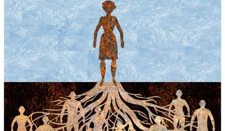 Illustration on the ancestral roots by Alexander Hunter/The Washington Times