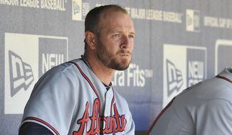 Atlanta Braves' pitcher, Billy Wagner in the dugout before the game against the New York Mets on Saturday, April 24, 2010, in New York. (AP Photo/Kathy Kmonicek)