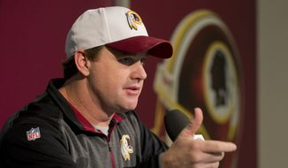 Washington Redskins head coach Jay Gruden, speaks to reporters during a news conference at the Redskins Park in Ashburn, Va., Monday, Jan. 4, 2016. If the Washington Redskins are going to win a playoff game for the first time in a decade, they'll need to earn their first victory this season over a team that finished above .500.   (AP Photo/Manuel Balce Ceneta)