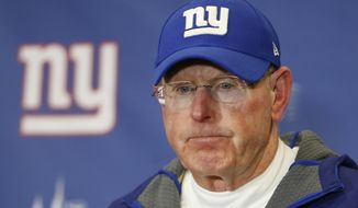 FILE - In this jan. 3, 2016, file photo, New York Giants head coach Tom Coughlin answers questions during a news conference after the Giants lost 35-30 to the Philadelphia Eagles in an NFL football game, in East Rutherford, N.J. Tom Coughlin, who returned the Giants to NFL prominence by winning two Super Bowls, resigned Monday, Jan. 4, 2016,  after missing the playoffs for the fourth consecutive year.  (AP Photo/Kathy Willens, File)