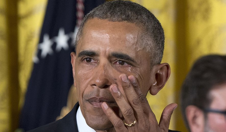 President Barack Obama wipes away tears from his eyes as he speaks in the East Room of the White House in Washington, Tuesday, Jan. 5, 2016, about steps his administration is taking to reduce gun violence. (AP Photo/Carolyn Kaster)