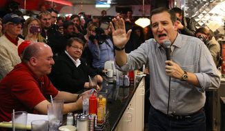 Republican Presidential candidate Sen. Ted Cruz, R-Texas, campaigns at Penny's Diner in Missouri Valley, Iowa, Monday, Jan. 4, 2016. (AP Photo/Nati Harnik)