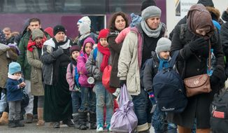 Refugees walk to a chartered train at the railway station of Passau, Germany Tuesday Jan. 5, 2016. Migrants continue to arrive in Germany to seek for asylum.  (Armin Weigel/dpa via AP)