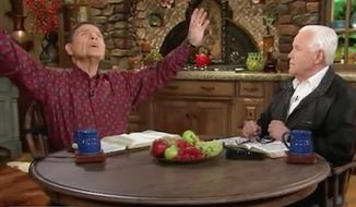 """Televangelists Kenneth Copeland, left, and Jesse Duplantis, right, defended their use of private jets as a luxury means of travel, arguing that commercial planes are full of """"a bunch of demons"""" that will bog down their busy schedules with prayer requests. (""""Believer's Voice of Victory"""" via YouTube)"""