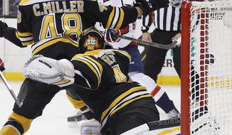 Washington Capitals' Andre Burakovsky, rear, scores on Boston Bruins goalie Tuukka Rask (40) during the first period of an NHL hockey game in Boston, Tuesday, Jan. 5, 2016. (AP Photo/Michael Dwyer)