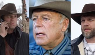 This is a combo of file photos showing the Bundy family from left to right, Ryan Bundy, Cliven Bundy and Ammon Bundy. Ryan and Ammon Bundy are part of a group of protesters who are in a standoff at the Malheur National Wildlife Refuge in Burns, Oregon. They are also the sons of rancher Cliven Bundy, who was involved in a 2014 Nevada standoff with the government over grazing rights. (AP Photos/File)