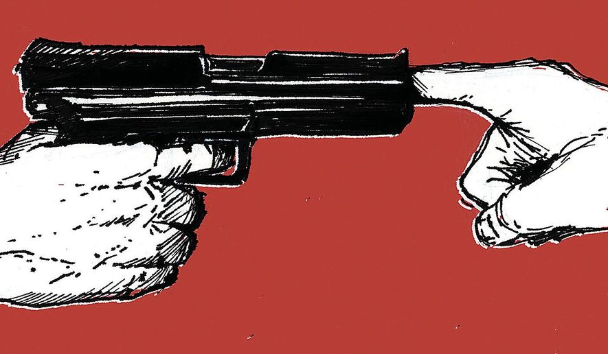 Illustration on increased gun control regulations by Paul Tong/Tribune Content Agency