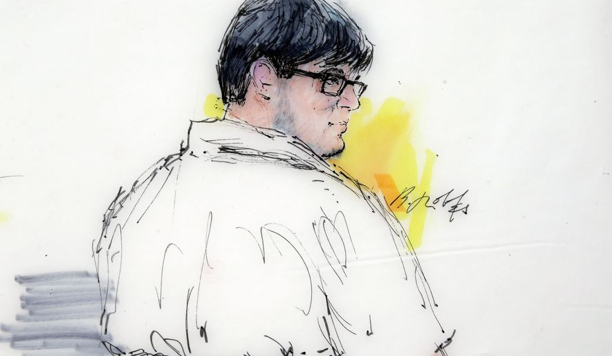 FILE - In this Dec. 21, 2015, courtroom sketch, Enrique Marquez Jr. appears in federal court in Riverside, Calif. Marquez, a friend of one of the shooters in the San Bernardino massacre that killed 14 people, was indicted Wednesday, Dec. 30, on five charges that include conspiring in a pair of previous planned attacks and making false statements when he bought the guns used in this month's shootings, authorities said. Marquez is is scheduled to be arraigned Wednesday, Jan. 6, in federal court. (Bill Robles via AP, File)