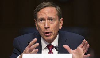 Former CIA Director David Petraeus testifies on Capitol Hill in Washington, in this Sept. 22, 2015, file photo. (AP Photo/Evan Vucci, File)