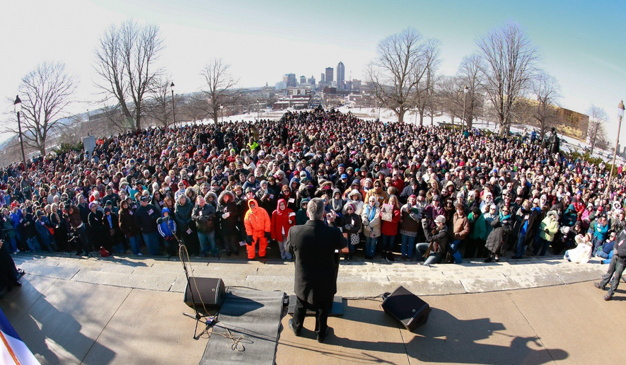 Franklin Graham speaking to a crowd on the steps of the Iowa state capitol on Tuesday January 5, 2015. (Image courtesy of Franklin Graham.)