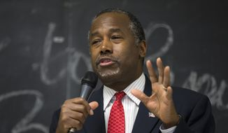 Republican presidential candidate Dr. Ben Carson speaks at a town hall, Wednesday, Jan. 6, 2016, in Panora, Iowa. (AP Photo/Jae C. Hong)