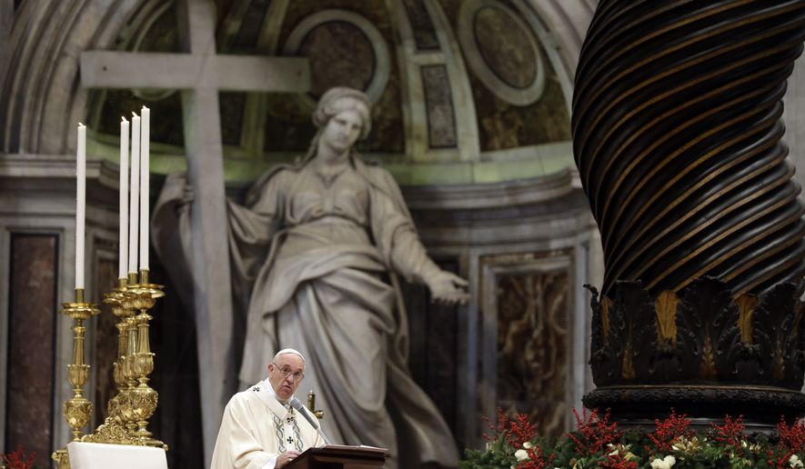 Pope Francis delivers his homily during a Mass in St. Peter's Basilica, at the Vatican, to mark Epiphany, Wednesday, Jan. 6, 2016. The Epiphany day is a joyous day for Catholics in which they recall the journey of the Three Kings, or Magi, to pay homage to Baby Jesus (AP Photo/Gregorio Borgia)