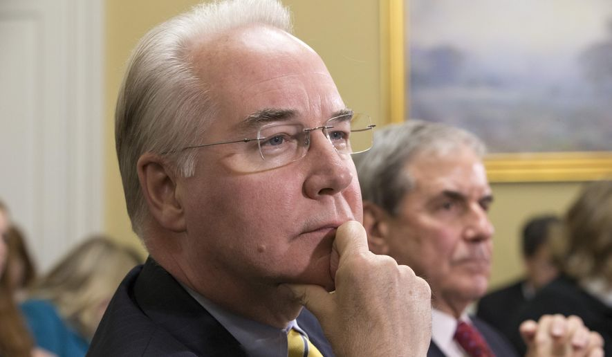 Rep. Tom Price, R-Ga., chairman of the House Budget Committee and a physician, appears before the Rules Committee, joined at right by Rep. John Yarmuth, D-Ky., a member of the House Budget Committee, as he sponsors legislation that would repeal President Barack Obama's signature health care law, on Capitol Hill in Washington, Tuesday, Jan. 5, 2016. The legislation will be the first order of business as the House returns for the holiday break and will mark the first time a bill repealing the health law makes it all the way to the White House.  (AP Photo/J. Scott Applewhite)