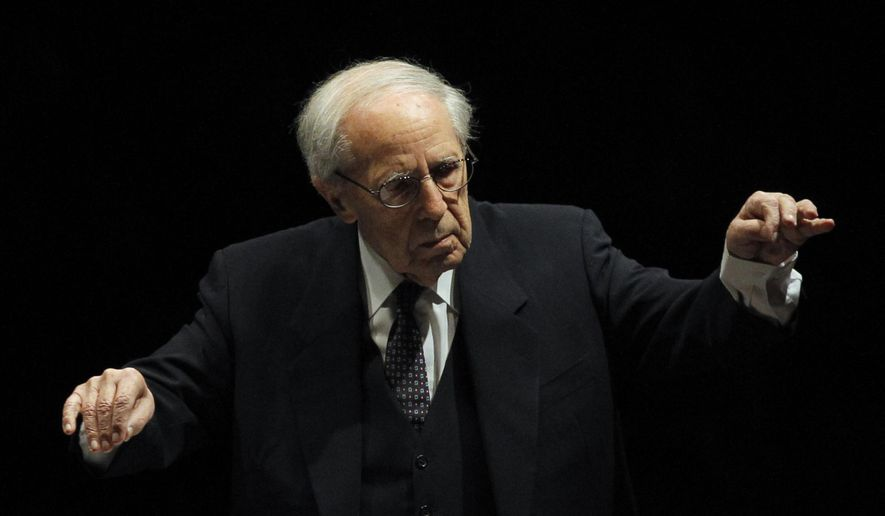 FILE - In this Dec.20, 2011 file photo, French conductor and composer Pierre Boulez conducts the Paris Orchestra at the Louvre museum in Paris. Boulez has died, Paris Philharmonic says Wednesday Jan.6, 2016. He was 90.(AP Photo/Christophe Ena, File)