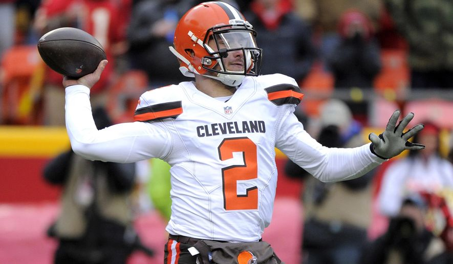 FILE - In this Dec. 27, 2015, file photo, Cleveland Browns quarterback Johnny Manziel (2) throws during the first half of an NFL football game against the Kansas City Chiefs in Kansas City, Mo. LeBron James and his business partners will no longer work with Browns quarterback Johnny Manziel, Wednesday, Jan. 6, 2016. (AP Photo/Ed Zurga, File)