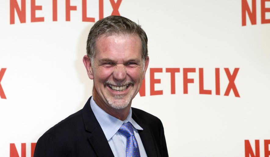 In this Sept. 15, 2014, file photo, Netflix CEO Reed Hastings arrives for the 'Netflix' Launch Party in Paris. (AP Photo/Jacques Brinon, File)