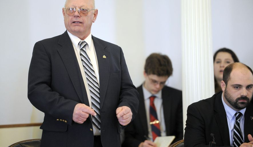 State Sen. Norm McAllister, R-Franklin, who faces criminal sex charges that could send him to prison for life, pleads his case to his Senate colleagues before the legislative body voted to suspend him Wednesday, Jan. 6, 2016, at the Statehouse in Montpelier, Vt. McAllister was arrested on May 7, 2015, outside the Statehouse and arraigned the next day on three counts of felony sexual assault and three counts of misdemeanor prohibited acts. He has pleaded not guilty.  (Jeb Wallace-Brodeur/The Times Argus via AP) MANDATORY CREDIT