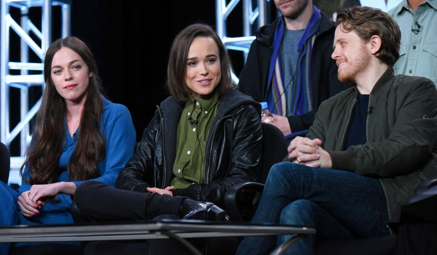 "Hailey Gates, from left, Ellen Page and Ian Daniel appear during the ""Viceland"" panel at the A+E 2016 Winter TCA on Wednesday, Jan. 6, 2016, in Pasadena, Calif. (Photo by Richard Shotwell/Invision/AP)"