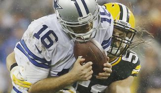 FILE - In this Dec. 13, 2015, file photo, Green Bay Packers' Clay Matthews sacks Dallas Cowboys' Matt Cassel during the second half of an NFL football game, in Green Bay, Wis. Well here's a change for the Green Bay Packers: their defense has been much more consistent this year than the offense, capable even of carrying the team for stretches.(AP Photo/Morry Gash, File)