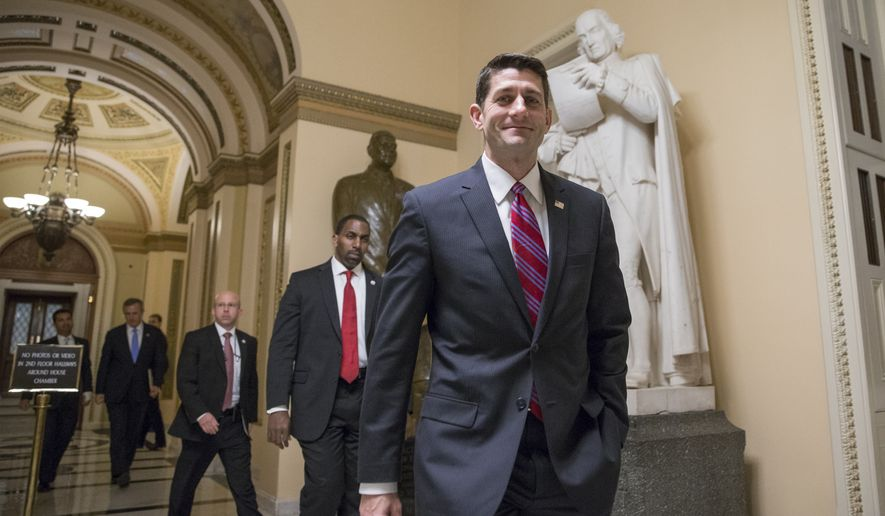 Speaker of the House Paul Ryan, R-Wis., smiles as he departs the chamber just after the Repubican-controlled House of Representatives voted to eliminate key parts of President Barack Obama's health care law and to stop taxpayer funds from going to Planned Parenthood, at the Capitol in Washington, Wednesday, Jan. 6, 2016. (AP Photo/J. Scott Applewhite)