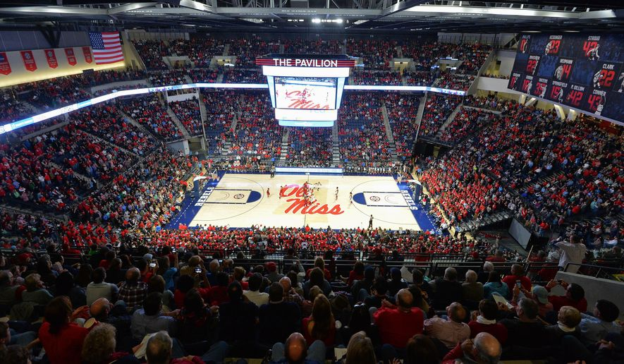 Fans fill the new Pavilion at Ole Miss during the first half of an NCAA college basketball game between Mississippi and Alabama in Oxford, Miss., Thursday, Jan. 7, 2016. This is the first game for the new facility. (AP Photo/Thomas Graning)