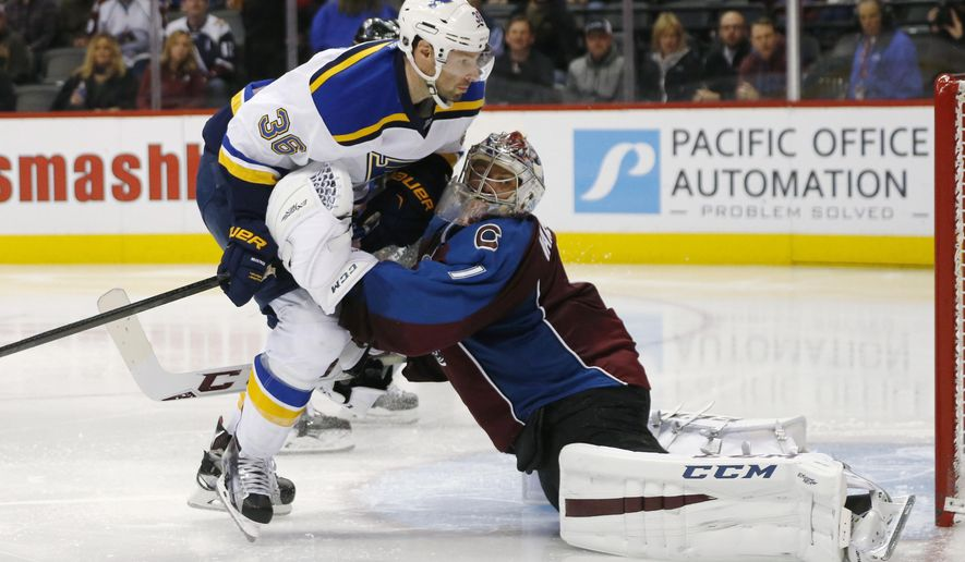 St. Louis Blues right wing Troy Brouwer, left, careens into Colorado Avalanche goalie Semyon Varlamov, of Russia, during the second period of an NHL hockey game Wednesday, Jan. 6, 2016, in Denver. (AP Photo/David Zalubowski)