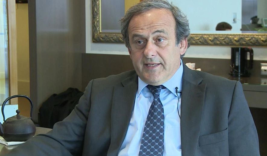 This image made from video shows Michel Platini in Nyon, Switzerland, Thursday Jan. 7, 2016. Platini told The Associated Press on Thursday Jan. 7, 2016 that he remains determined to overturn the eight-year ban he was handed by FIFA's ethics committee last month, but that the deadline for the Feb. 26 election is too short and renders his candidacy impossible. (APTN via AP)