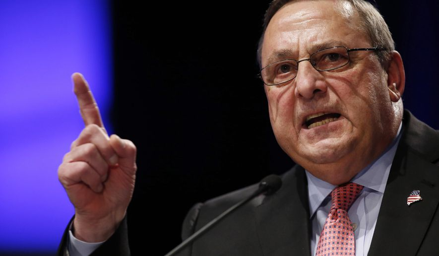 """FILE- In this Jan. 7, 2015, file photo, Republican Gov. Paul LePage delivers his inauguration address in Augusta, Maine. LePage said out-of-state drug dealers are impregnating """"young white"""" girls, and he was quickly derided by critics on Thursday, Jan. 7, 2016. (AP Photo/Robert F. Bukaty, File)"""