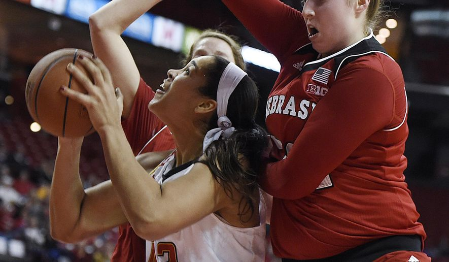 Maryland's Brionna Jones, left, looks to the basket as Nebraska's Jessica Shepard, right, defends during the first half of an NCAA college basketball game, Thursday, Jan. 7, 2016, in College Park, Md. (AP Photo/Gail Burton)