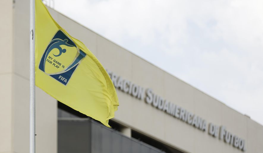 File - This Dec. 3, 2015, file photo, shows a view of CONMEBOL headquarters in Luque, Paraguay. Authorities in Paraguay raided on Thursday, Jan. 7, 2016, the headquarters of the South American soccer confederation in the capital of Asuncion. (AP Photo/Jorge Saenz, File)