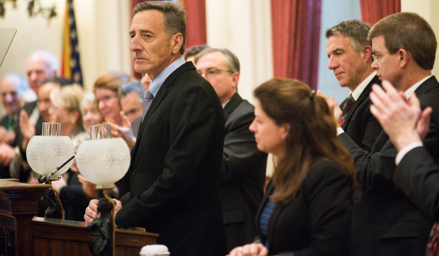 Vermont Gov. Peter Shumlin delivers his final State of the State Address on Thursday, Jan. 7, 2016, at the Statehouse in Montpelier, Vt.  Shumlin is calling for limiting the numbers of pills allowed in prescriptions for opiate painkillers, a new education program for young adults and divesting the state's investment portfolio of coal companies and fossil fuels. (AP Photo/Andy Duback)
