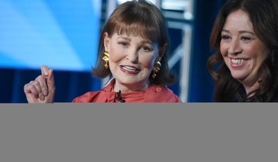 "Gloria Vanderbilt, left and director Liz Garbus participate in the panel for ""Nothing Left Unsaid: Gloria Vanderbilt and Anderson Cooper"" at the HBO 2016 Winter TCA on Thursday, Jan. 7, 2016, in Pasadena, Calif. (Photo by Richard Shotwell/Invision/AP)"