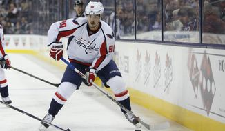 Washington Capitals' Marcus Johansson, of Sweden, plays against the Columbus Blue Jackets during an NHL hockey game Saturday, Jan. 2, 2016, in Columbus, Ohio. (AP Photo/Jay LaPrete)