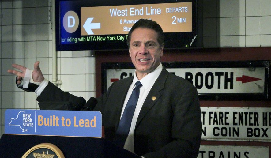 Gov. Andrew Cuomo speaks during a press conference at the New York Transit Museum detailing improvement plans for a five-year, $29 billion upgrade to the transit system, Friday, Jan. 8, 2016, in New York. The plan includes subway station countdown clocks, improved signal technology and replacement subway cars. Thirty stations will be completely overhauled.  (AP Photo/Bebeto Matthews)