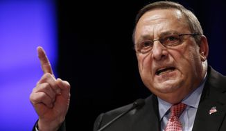 """Republican Gov. Paul LePage delivers his inauguration address in Augusta, Maine, in this Jan. 7, 2015, file photo. LePage said out-of-state drug dealers are impregnating """"young white"""" girls, and he was quickly derided by critics on Thursday, Jan. 7, 2016. (AP Photo/Robert F. Bukaty, File)"""