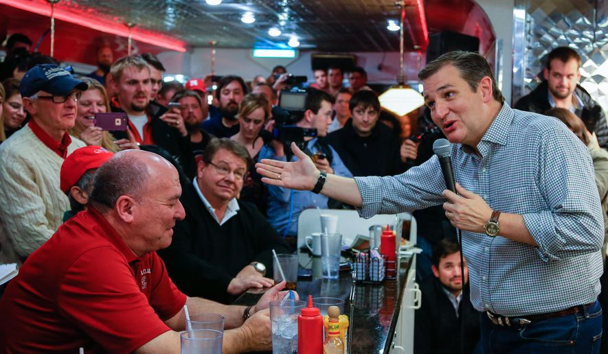 Republican Presidential candidate Sen. Ted Cruz, R-Texas campaigns at Penny's Diner in Missouri Valley, Iowa, Monday, Jan. 4, 2016. (AP Photo/Nati Harnik) ** FILE **