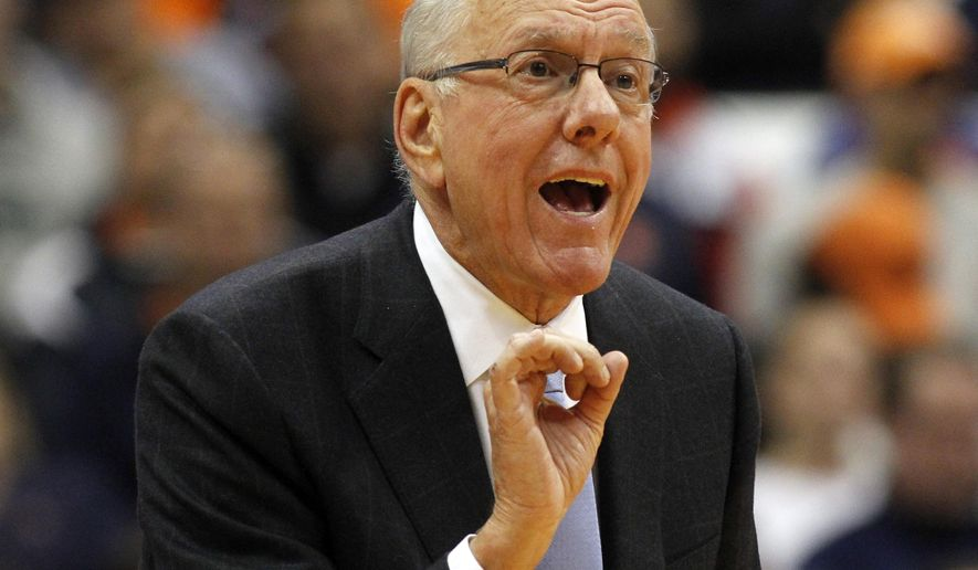 FILE - In this Nov. 13, 2015, file photo, Syracuse head coach Jim Boeheim calls out to his players in the second half of an NCAA college basketball game against Lehigh in Syracuse, N.Y. Boeheim is due to return from a nine-game NCAA suspension when the Orange hosts No. 6 North Carolina on Saturday, Jan. 9, 2016. (AP Photo/Nick Lisi, File)