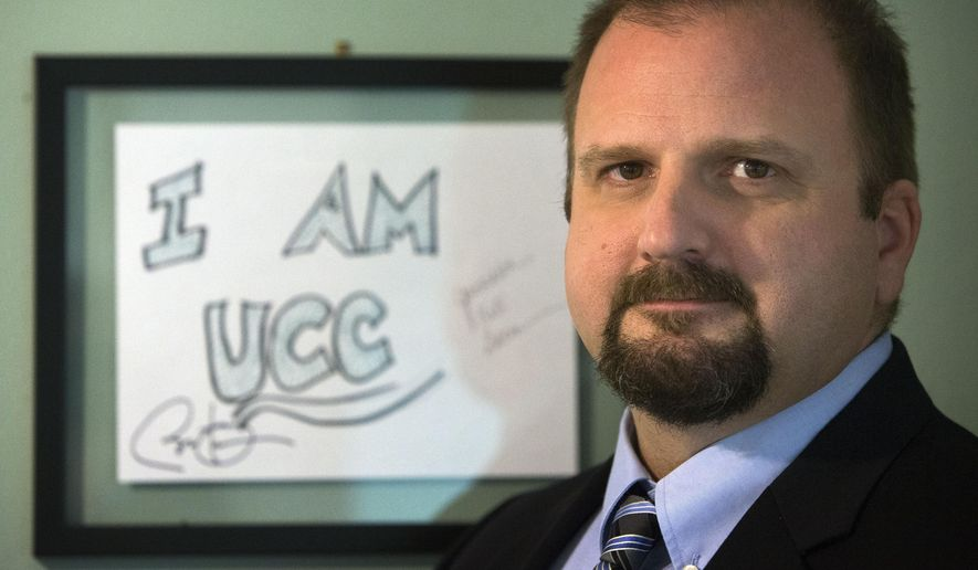 In this Dec. 22, 2015 photo, Andre Le Duc, executive director of Enterprise Risk Services, is photographed at his office in Eugene, Ore. Le Duc spent considerable time working with Umpqua Community College after the October 1, 2015 shooting massacre on the campus.  (Andy Nelson/The Register-Guard via AP) MANDATORY CREDIT