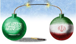 Illustration on growing hostilities between Saudi Arabia and Iran by Alexander Hunter/The Washington Times
