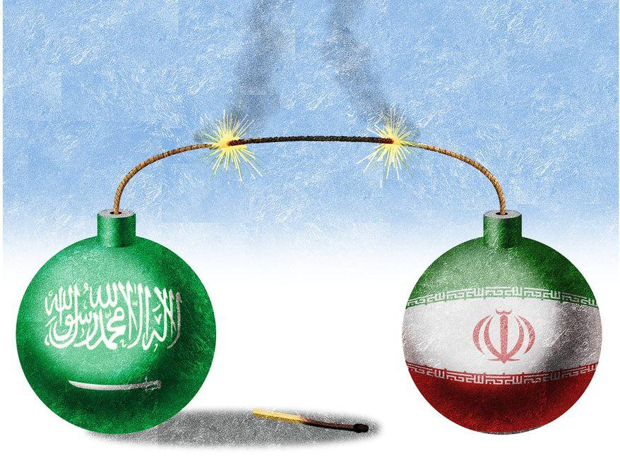 Illustration on growing hostilities between Saudi Arabia and Iran by Alexander Hunter/The Washington Times